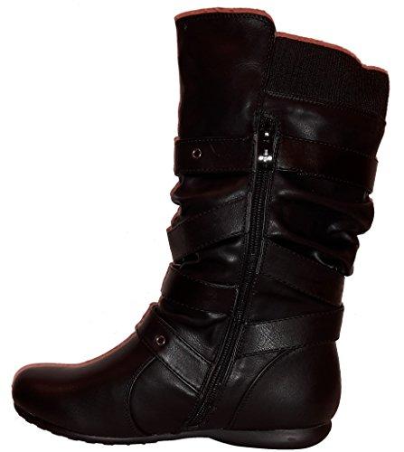 Bottes hiver très hautes, doublées ou non-doublées, chaussures femme, modèle 11064104003248, beige, vert, noir ou gris, différents modèles et tailles. Noir modèle A.