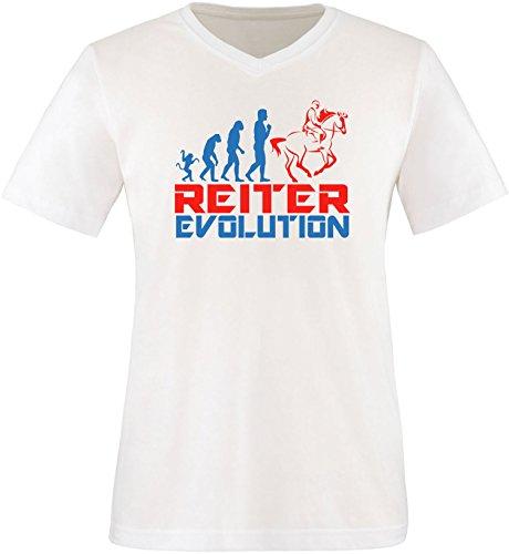 EZYshirt® Reiter Evolution Herren V-Neck T-Shirt Weiß/Blau/Rot