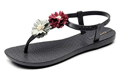 Frauen-Gladiator-Blumen-T-Bügel-Flache Sandalen gleiten auf den rutschfesten Sommer-Strand-Schuhen des offenen Zehen-Zapfen-Flipflops -