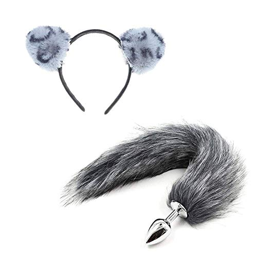 ꕤ Plush Cat Ear & Taịl Set Toys for Her - Black&White