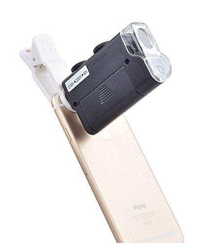 Apexel Professionelle 60–130x optischer Zoom Handy LED-Mikroskop Lupe Objektiv mit Universal Clip für Smartphone–Schwarz