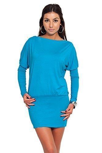 Futuro Fashion Glamour Femmes Mini Robe avec fermeture éclair sur épaule Jersey Manche Longue Tunique Tailles 8-18 UK 8440 Turquoise