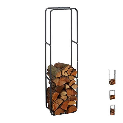 Relaxdays Kaminholzregal, Holzscheite Stapelhilfe, aus Stahl, innen und außen, Brennholzregal, HxB 150x40 cm, anthrazit