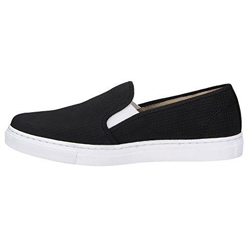 ZWEIGUT® -Hamburg- smuck #201 Damen Sommer Schuhe Slip-On Leder Slipper Fashion Lochmuster Nubukleder Schwarz