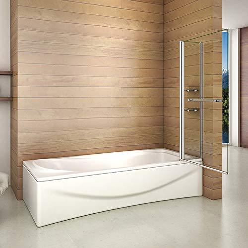 418qYLE3GbL - Bañera 2 piezas Mampara pantalla de ducha plegable vuelta 180 ° 100x140cm