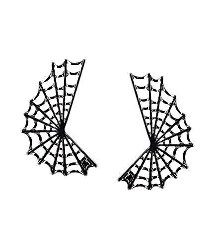 SIX graue Ohrstecker für Halloween oder Mottoparty Spinnennetz Ohrringe für Grusel-Kostüme ()