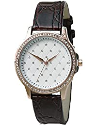 Skone 9300-4 Analog Cream Dial Leather Strap Wrist Watch/Casual Watch - For Women