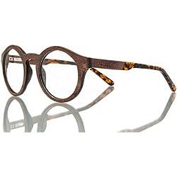 Barkey - Samara Ebony Vista lente de muestra - Gafas de madera de alta calidad - 100% hecho a mano - lentes de demostración no graduados