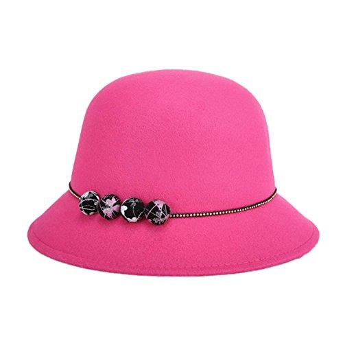 Rosa Eimer Hut (Vi.yo Frauen Dame Eimer Hut Vintage Elegante Wollfilz Melone Hut Herbst Winter Hut Mützemit Mode Ornamente Breiter Krempe,1 Stück (Rosa))