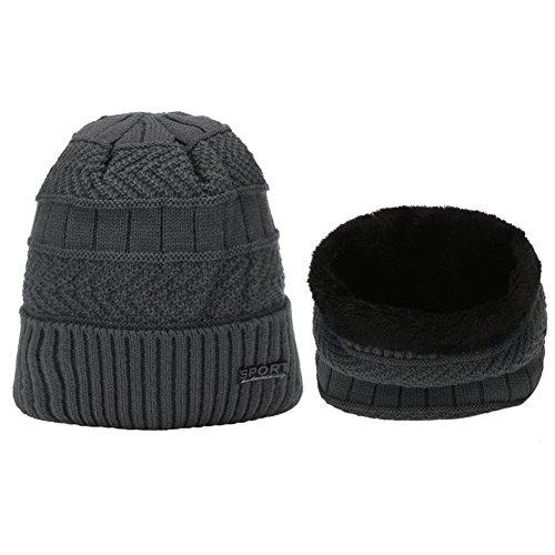 ERIC YIAN Winter stricken Skull Cap oder warmer Snood unisex Beanie Mütze 2in1 Schal und Mütze (Tartan Flanell Plaid)