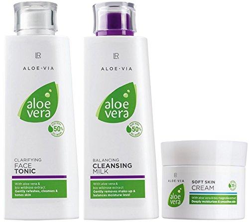 LR ALOE VIA Aloe Vera Gesichtspflege-Set (Gesichtswasser, Reinigungsmilch & Hautcreme) -