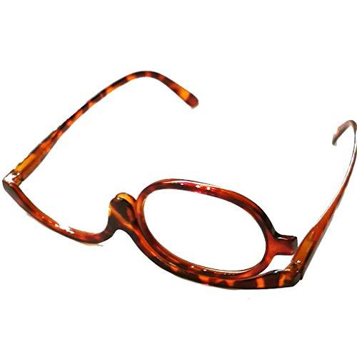 Schöne modische Schminkbrille Damen Frauen für 1 Auge Schminken in drei Farben mit Federscharnier (Havanna, 1.5)