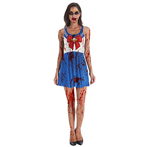 Kostüm Männer Sailor Moon - CAGYMJ Retro Kleidung Damenrock Kleid,Cosplay Horror Zombie Sailor Moon Weste Rock,Halloween Maskerade Festival,S