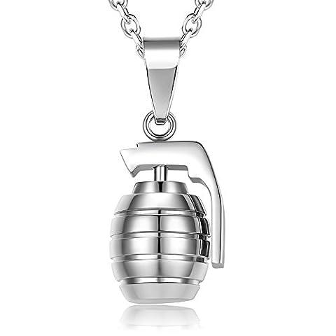 Zolure Collier Homme en Acier Inoxydable Style Armée Pendentif Grenade