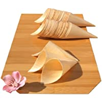 Gifts Of The Orient GOTO® - Bambú Madera Conos Mini X 100 Para Fiesta Alimentos, Snacks, Bocadillos, Canapé 85X30Mm - Pequeño - Goto