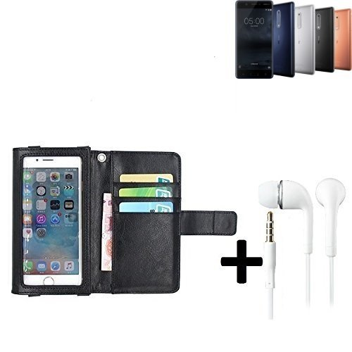 K-S-Trade TOP Set für Nokia 5 Dual-SIMSchutz Hülle Case mit Displayschutz/Schutzfolie schwarz + Kopfhörer Flip Cover Wallet case Etui Hülle Für Nokia 5 Dual-SIM