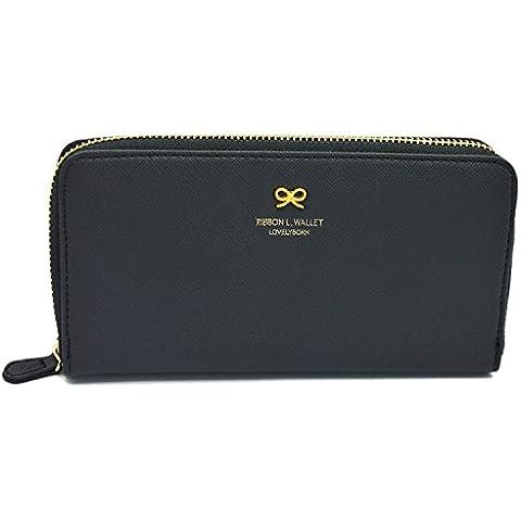 Bowknot hermoso elegante PU damas mujeres largo bolso cartera tarjeta moneda dinero embrague mano bolso negro de cuero