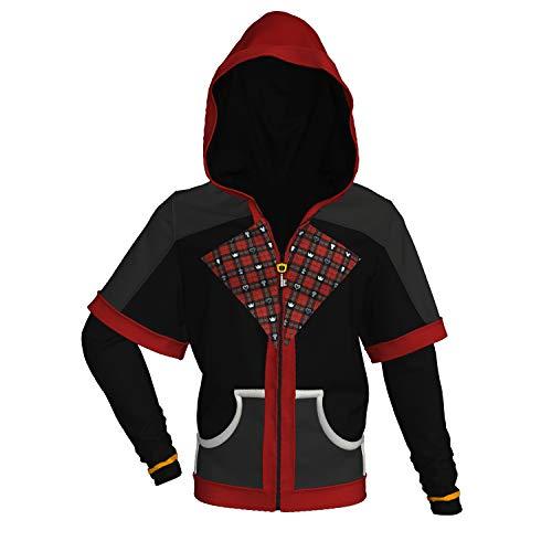 DealTrade Sora Hoodie Jacke Kostüm Cosplay Frühling Keyblade Zipper Hood Langarm Sweatshirt Oberbekleidung Kleidung Top Mantel für Erwachsene Männer & Jugendliche (Kairi Cosplay Kostüm)
