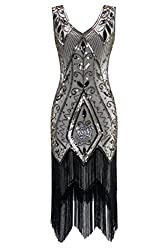Metme Women's 1920s Vintage Flapper Fringe Beaded Great Gatsby Party Dress (4xl, Champagne)