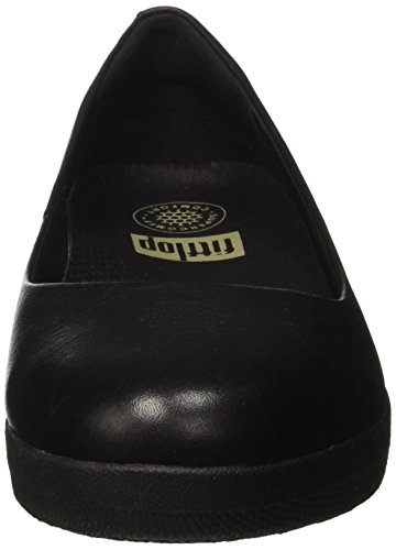 FitFlop Leather Superballerina Tm, Ballerine à bout ouvert femme Nero (Black)