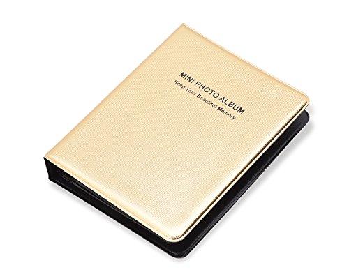 DSstyles Fotoalbum 64 Taschen Fotobuch Luxus Foto Album für Fujifilm Instax Mini 7S 8 25 50S Filme - Gold