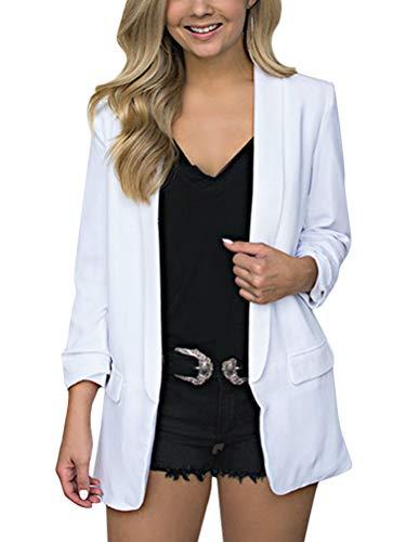 Minetom Damen Cardigan Elegant Blazer Langärmliger Anzugjacke Einfarbig Blazer Business Slim Fit Bolero Jacke Anzug Trenchcoat Weiß DE 38