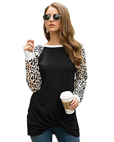 Mujeres Camisas Estampado Leopardo Cuello Redondo Casual de Manga Larga Blusas Tops Camiseta (2XL, Negro)