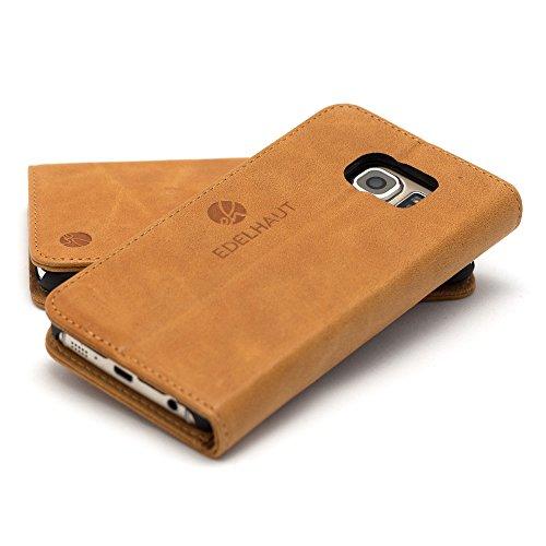 EDELHAUT Handytasche mit unsichtbarem Magnetverschluss in braun für Samsung Galaxy S7 aus echtem Leder