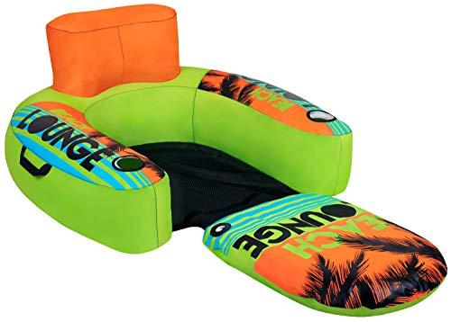 Wasser-park Tube (MESLE Beach Lounge 1, aufblasbarer Schwimm-Sitz, grün-orange-blau, Wasser-Sessel, ausklappbar, Air-Lounge, Getränkehalter, 92 cm x 97 cm, Strand-Sitz, Zwei Hanteln, Luftkissen)