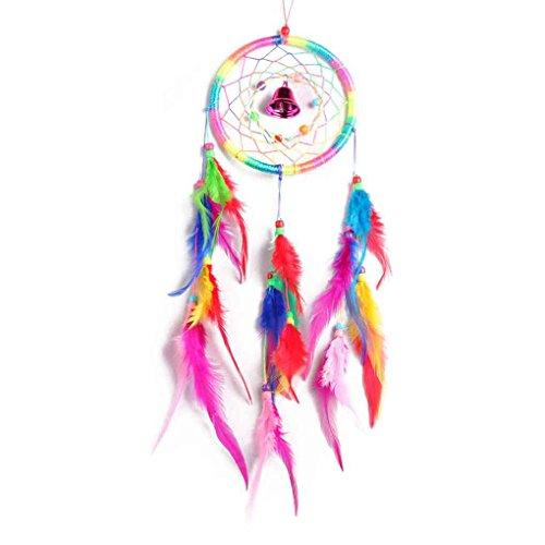 Bobury Atrapasueños Colorido con Plumas y Campanas para Decoraciones de Coches de...