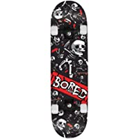 "BoredCrazy Kids' Skateboard Miulticoloured, 31"" inch plastic frame, 1 speed colour printed griptape double kicktail maple deck"