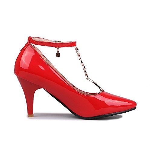 VogueZone009 Donna Pelle Di Maiale Scarpe A Punta Tacco Alto Fibbia Puro Ballerine Rosso