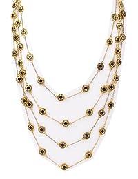 BELLE MISS - Collar largo cadena multirang color dorado con resina negra