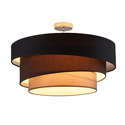 Deckenleuchte Runde Deckenlampe Decken Beleuchtung Leuchte Wohnzimmer Schlafzimmer Esszimmer Küche Flur Licht Deckenbeleuchtung Stoff Metall Lampe 3-Farbe Schwarz Braun Grau E27 3-Flammig Chrom