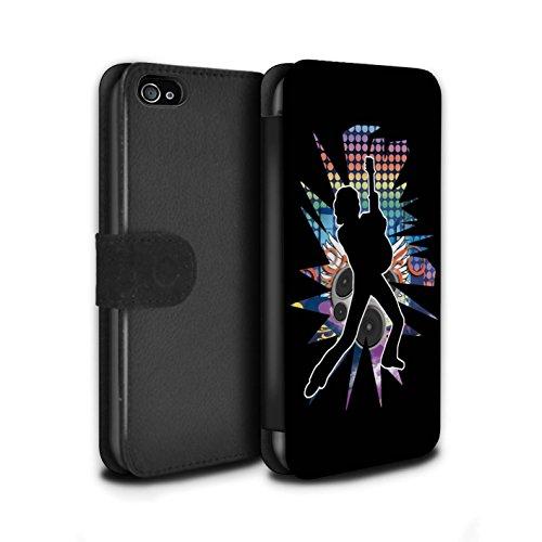 Stuff4 Coque/Etui/Housse Cuir PU Case/Cover pour Apple iPhone 4/4S / étendre Blanc Design / Rock Star Pose Collection Pencher Noir