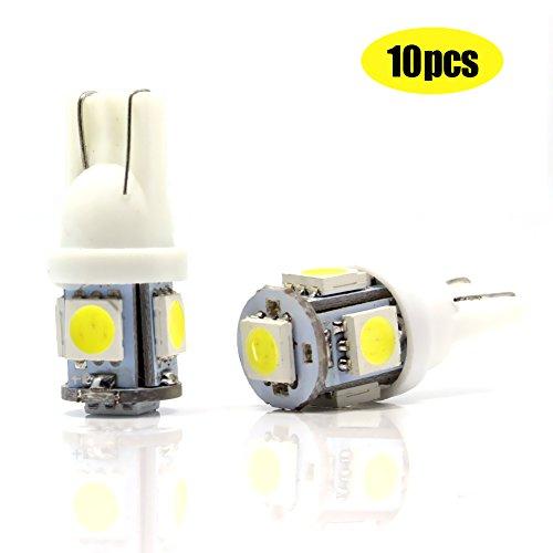10 Stück 12V T10, 5SMD 5050LED, weiß, als Auto Ersatz-Innenlampen, Positionslampe, Armaturenbrett-Lampe, Kennzeichenbeleuchtung, Tür- oder Rücklichtlampe