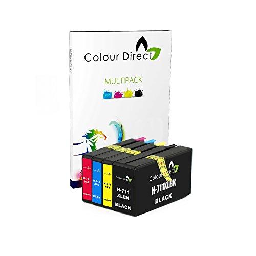 Colour Direct 4 (1 Conjunto) Compatible Cartuchos de Tinta Reemplazo por HP 711 Designjet T120, T520 Impresoras (CZ129A, CZ130A, CZ131A, CZ132A)