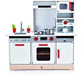 Hape E3145 Multifunktionale Spielküche, große Spielküche mit Licht, Ton und anderen Funktionen, weiß
