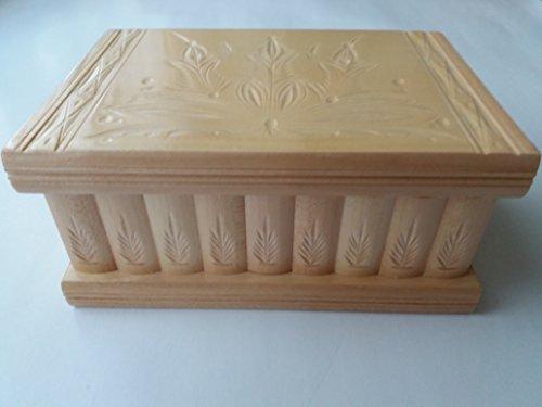 Nuovo Grande, scatola enorme, scatola di puzzle di legno, scatola segreta, scatola magica, contenitore di monili, il caso, intagliato a mano scatola di legno, scatola intagliata, giocattolo di legno per i bambini (Legno laccato naturale)