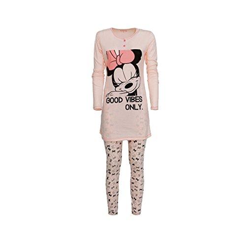Disney pigiama ragazza minnie c/maxi maglia e leggings cotone wd22950 s348 14-16 anni rosa