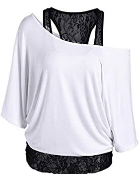 BOZEVON Girocollo Sciolto Casual da Donna Tops Spalla Manica Corta T-Shirt con Cuciture in Pizzo