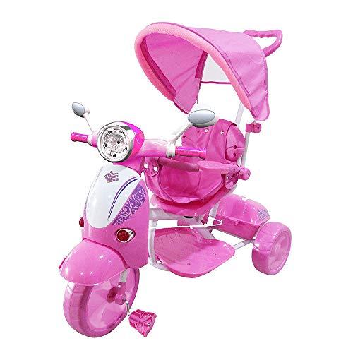 LGVSHOPPING Moto Triciclo a Spinta con Pedali Trico Special per Bambini Bicicletta Vespa Vespina 2 in 1 (Rosa)