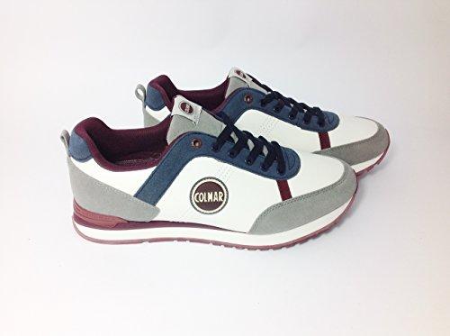 Colmar TRAVIS ORIGINALS Sneakers Uomo Pelle WHITE/GREY/BURGUNDY/NAVY BLUE WHITE/GREY/BURGUNDY/NAVY BLUE 41