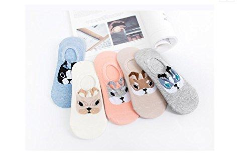 Muster Fußkettchen Socken (Huertuer 5Paar Fußkettchen Baumwolle Cartoon Tiere Muster Kurz Knöchel Socken für Frauen Mädchen (zufällige Farbe))