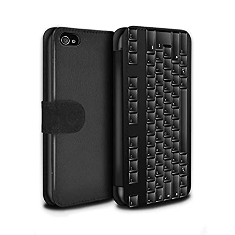 Stuff4 Coque/Etui/Housse Cuir PU Case/Cover pour Apple iPhone 4/4S / Clavier PC/Noir Design / Clés/Boutons Collection