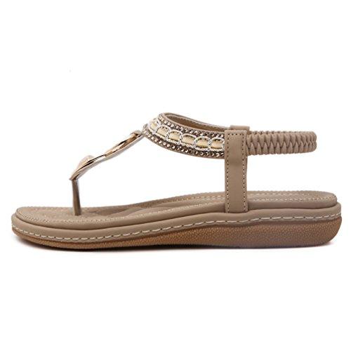 Tongs femme Sandales plates en cuir PU à ornements Flip Flops Bohême Chaussure été à entredoigt Abricot
