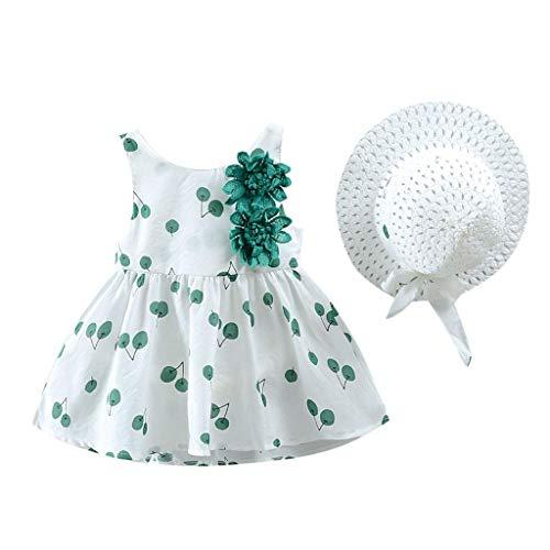 KIMODO Kleinkind Baby Mädchen Kirsche Drucken Prinzessin Kleid Sommer Urlaub Strandkleid Kleidung + Hat Outfits Set (Mint Grünen Kleid Teens)