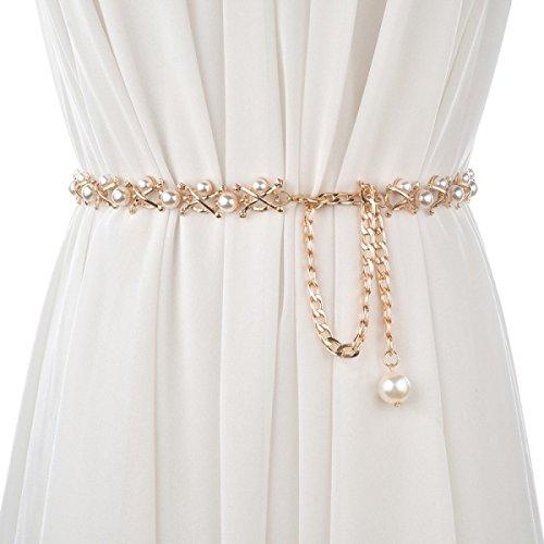 Retro Metall Fein Taille Gürtel Für Frauen Dame Mode Taille Cinch Gürtel Bund Für Kleid,Gold-110CM (Tunika Cinch-taille)