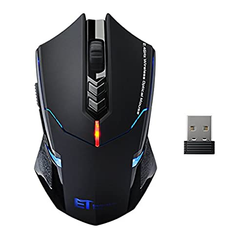 Wireless Mouse - Silent Click, Patuoxun 7 Button 2.4G Wireless Gaming & Office Mouse with Nano USB Receiver PC Laptop Desktop Computer Optical Mice Adjustable DPI (800, 1200, 1600, 2000, 2400), LED Backlight - Quiet Button Design