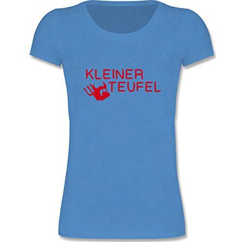 Sprüche Kind - Kleiner Teufel - 110-116 (5-6 Jahre) - Blau meliert - F288K - Mädchen T-Shirt